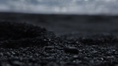 Volcanic Beach - Black Pebbles Stock Footage