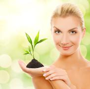 beautiful blond woman with young plant over abstract blurred background - stock illustration