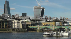 London City Skyline Including Tate Modern Millennium Foot Bridge Long Version Stock Footage