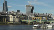Stock Video Footage of London City 2014 New Skyline Including Tate Modern Foot Bridge Long Version