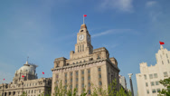 Stock Video Footage of Shanghai Customs House facade hyperlapse 4K