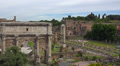 Rome, Italy, ruins of Roman Forum and other antiquities on Palatine hill. Footage