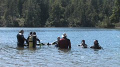 1440 Scuba Divers Swimming in a Lake 5 - stock footage