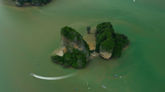 Aerial view James Bond Island Phi Phi Island, Krabi, Thailand, Andaman Sea Stock Footage