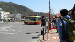Kawaguchiko station all of transport for tourists Stock Footage