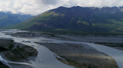 Aerial view of wilderness river glacial melt water, Alaska Stock Footage