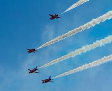 The Red Arrows jet planes British RAF aerobatic display team Stock Photos