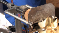 A Machine Making Potato Chips Stock Footage