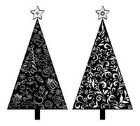 Christmas trees, silhouette with pattern Stock Illustration