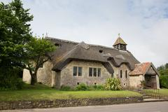 Thatched church St Agnes Freshwater Bay Isle of Wight Stock Photos