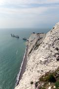 The Needles Isle of Wight landmark by Alum Bay tourist attraction - stock photo