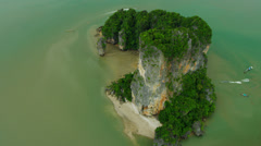 Aerial view Khao Phing Kan, Phi Phi Island, Krabi, Strait of Malacca, Thailand Stock Footage