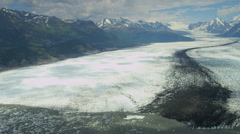Aerial view of glacier and medial moraine, USA - stock footage