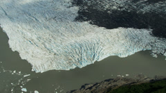 Aerial view of glacier ice shelf moraine, Alaska - stock footage