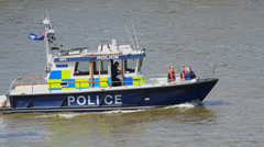 London Water Police boat on River Thames - stock footage