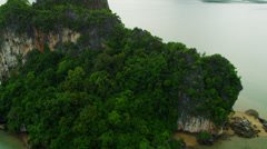 Aerial view Phi Phi Island, Krabi, Strait of Malacca, Thailand Stock Footage
