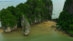 Aerial view of Ao Phang Nga National Park James Bond Island, Thailand Stock Footage