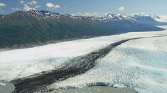 Aerial view Knik glacier Chugach Mountains, Alaska - stock footage
