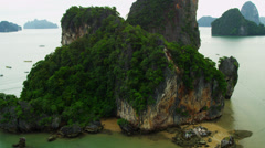 Aerial view James Bond Island, Phi Phi Island, Krabi, Thailand Stock Footage