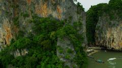 Aerial view Phi Phi Island, Krabi, Phang Nga Bay, Strait of Malacca, Thailand Stock Footage