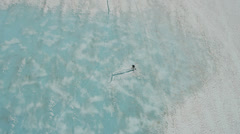Aerial view glacier sheets of ice containing melt waters, USA - stock footage