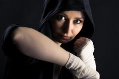 Girl with a fighting stance Stock Photos