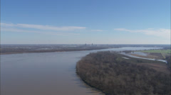 Memphis Fly Over River Stock Footage