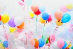background of motley balloons - stock photo