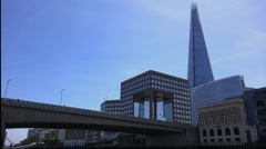 Londons highest building The Shard and London Bridge Stock Footage