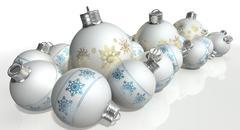 Ornate matte white christmas baubles Stock Illustration