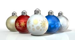 colorful ornate christmas baubles - stock illustration