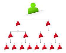 office organization tree chart - stock illustration