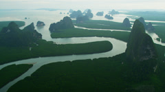 Aerial view Phang Nga Bay sheer limestone karsts, Thailand - stock footage