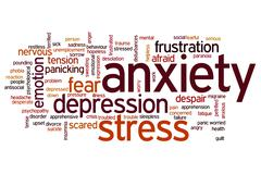 anxiety word cloud - stock illustration