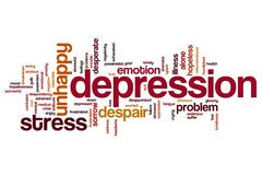 depression word cloud - stock illustration