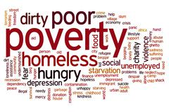 poverty word cloud - stock illustration