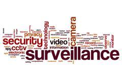 surveillance word cloud - stock illustration