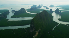Aerial view Phang Nga Bay many Islands and Inlets,  Thailand Stock Footage