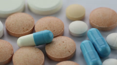 Closeup of pills Stock Footage
