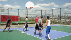 Stock Video Footage of Basketball Court overlooking Manhattan Skyline