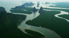 Aerial view Phang Nga Bay many Islands, Southern Thailand Stock Footage