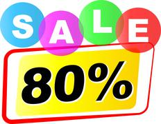 vector eighty percent sale icon - stock illustration