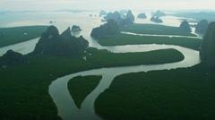 Aerial view limestone pillars  Phang nga bay Islands, Thailand Stock Footage