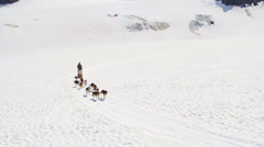 Aerial view of dogsledding Chugach Mountains, Alaska, Stock Footage