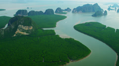Aerial view Phang nga bay built of large and small Islands, Thailand Stock Footage