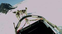 POV dog sledge team  mountain range, Alaska, USA - stock footage