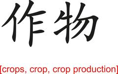 Chinese Sign for crops, crop, crop production - stock illustration
