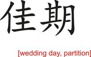 Stock Illustration of Chinese Sign for wedding day, partition