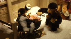 Christmas in Munich, funny toy animals in a shop window at a department store 4 - stock footage