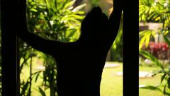 Woman silhouette standing in darkness and looking on garden Stock Footage